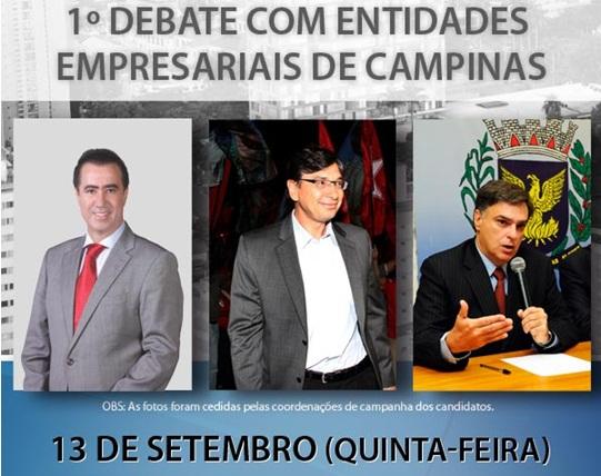 Entidades Empresariais promovem 1º debate com candidatos à Prefeitura