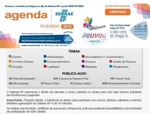 Confira a agenda de atividades do Sebrae Campinas para janeiro e fevereiro