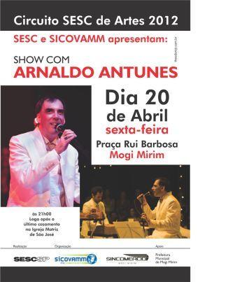 Sesc promove show gratuito de Arnaldo Antunes em Mogi Mirim