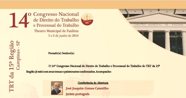 Congresso do Direito de Trabalho em Paulínia trará jurista português