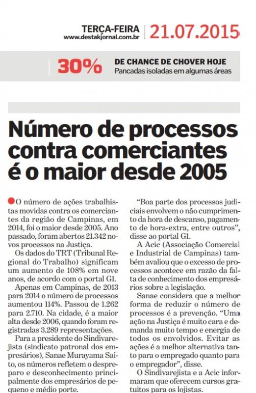 Jornal Destak também publica notícia sobre ações trabalhistas no varejo
