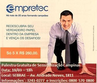 Sebrae promove curso de desenvolvimento da Empretec em Campinas
