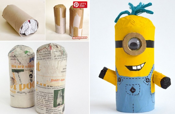 Crie seu Minion, personagem do filme Meu Malvado Favorito, reutilizando rolos de papel higiênico
