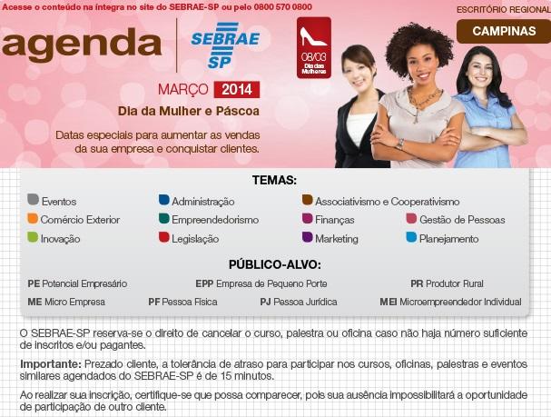 Confira a programação de palestras e oficinas do Sebrae Campinas no mês de março
