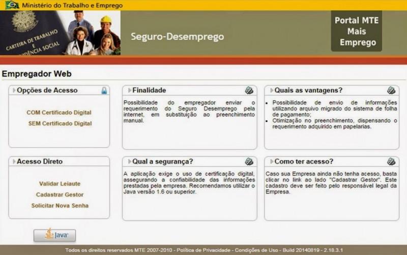 Seguro-Desemprego via Web será obrigatório a partir de abril, para o empregador