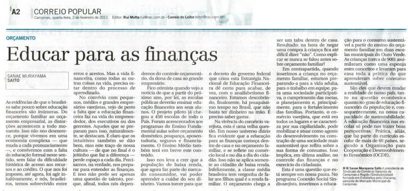Leia artigo de Sanae Saito publicado no 'Correio': Educar para as finanças