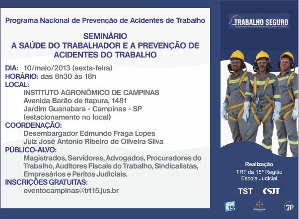 TRT faz seminário sobre saúde do trabalhador e prevenção de acidentes