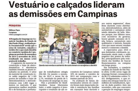 Demissões no varejo de Campinas é destaque em matéria do jornal DCI
