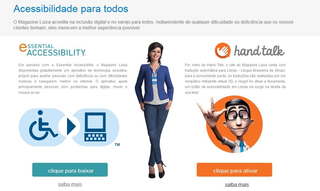 Site Magazine Luiza oferece leitura em Libras, pioneiro no varejo brasileiro