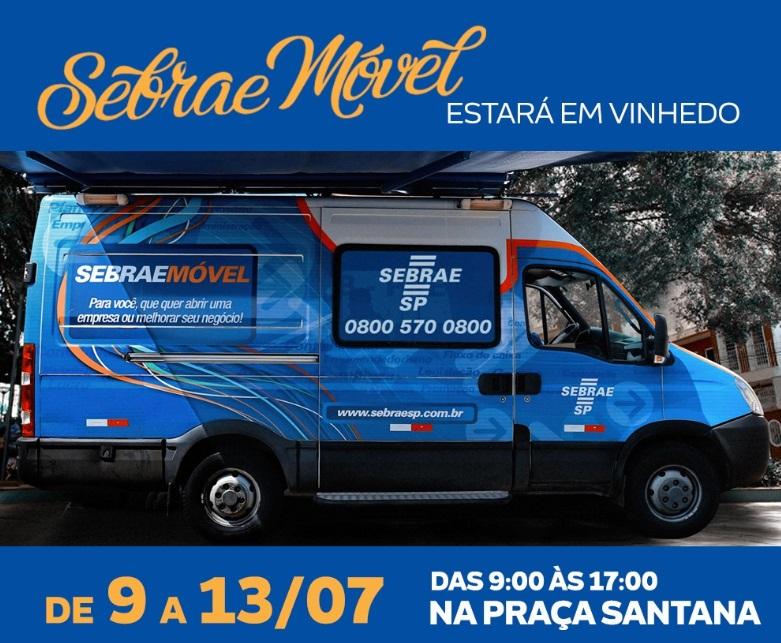 Sebrae Móvel estará em Vinhedo entre os dias 9 e 13 de julho