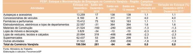 6cee61238 ... Sanae Murayama Saito, explica que diante deste cenário é possível dizer  que o mercado de trabalho do varejo da região de Campinas estagnou em 2018.