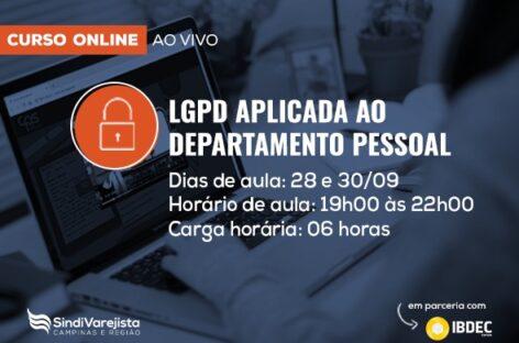 """SindiVarejista e Ibdec promovem curso de """"LGPD aplicada ao Departamento Pessoal"""""""