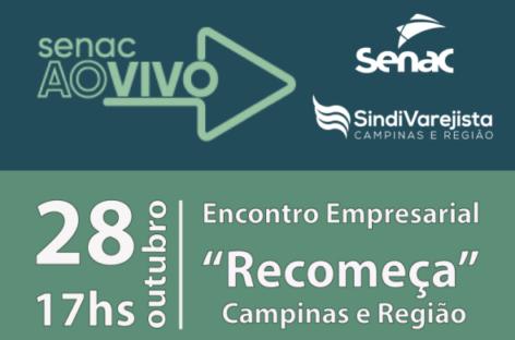 SindiVarejista e Senac promovem live gratuita sobre retomada no dia 28 de outubro!