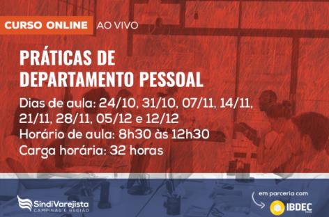 SindiVarejista promove curso on-line: Práticas de Departamento Pessoal
